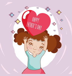 girl with heart with message of father day vector image