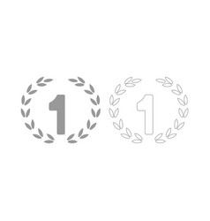 First place the grey set icon vector