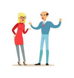 bald man and blonde woman characters arguing and vector image