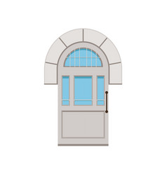 Classic white arched front door to house closed vector
