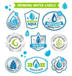 Set of water drops label vector image