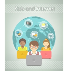 Kids on internet world over vector