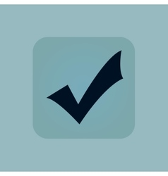 Pale blue tick mark icon vector