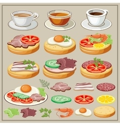 Set of breakfasts vector