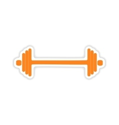 Icon sticker realistic design on paper barbell vector