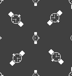 Watches icon symbol seamless pattern on a gray vector