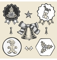 Christmas candle sock gingerbread bell vintage vector