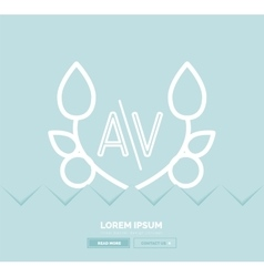 Abstract geometric linear hipster floral icon vector