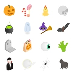 Halloween isometric 3d icons vector