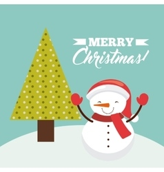 Snowman and pine tree icon merry christmas design vector