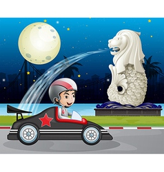 A car racer passing the street with the statue of vector