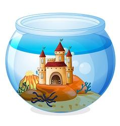 A castle inside a fishbowl vector