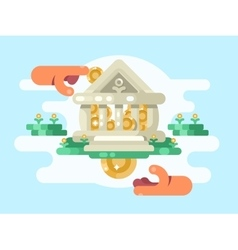 Abstract bank building with coin vector image vector image