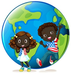 African american kids on earth vector image