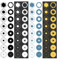 aperture range icons set vector image
