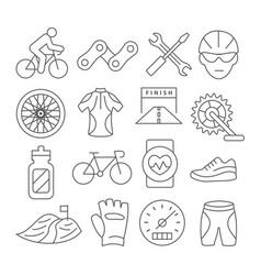biking line icons vector image