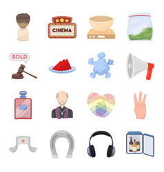 Brush sign cinema and other web icon in cartoon vector