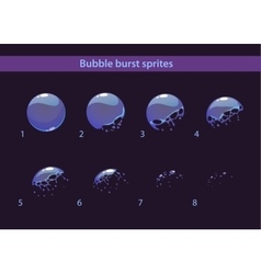 Cartoon soap bubble burst sprites vector image vector image