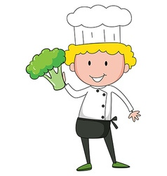Chef holding broccoli in one hand vector