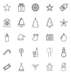 Christmas line icons on white background vector