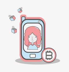 Color concept woman connected with bitcoin money vector