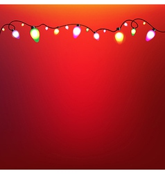 Colorful Bulb Garland With Red Background vector image vector image