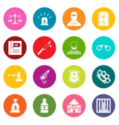 Crime and punishment icons many colors set vector