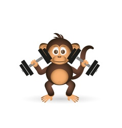 Cute chimpanzee in gym with dumbbells sport little vector
