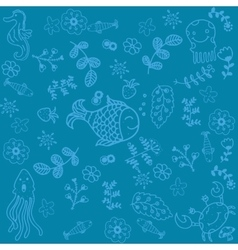 Fish and leaves doodle art vector image vector image