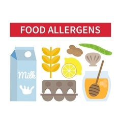 Food allergies set vector image
