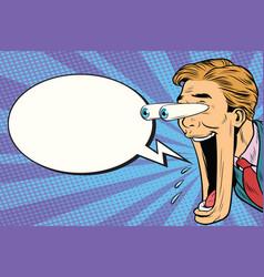 hyper expressive reaction cartoon man face comic vector image