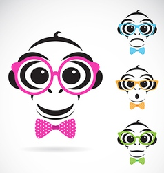 image of a monkey wearing glasses vector image vector image