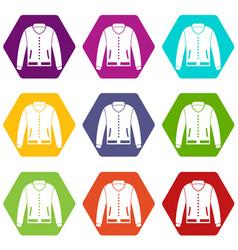 jacket icon set color hexahedron vector image