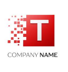 letter t logo symbol in the colorful square with vector image vector image