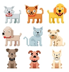 Pixel art pets icons 8 bit dogs and cats vector