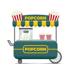 Popcorn street food cart colorful image vector