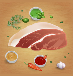 Pork with tasty sauces and spices vector