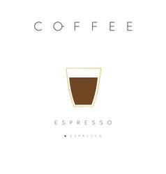 Poster coffee espresso white vector