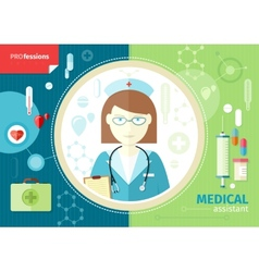 Profession concept with medical assistant vector