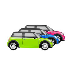 realistic model of a mini car in on white b vector image