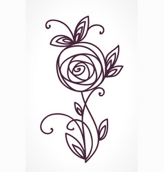 rose stylized flower bouquet hand drawing vector image vector image
