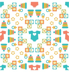seamless pattern of baby icons vector image vector image