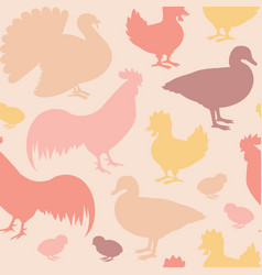 Seamless pattern with farm birds vector