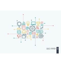 SEO integrated thin line symbols vector image