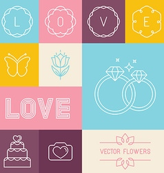 Set of linear icons for wedding invitations vector