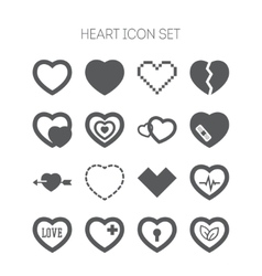 Set of simple icons with heart for Valentine day vector image