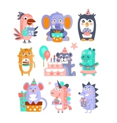 Stylized Funky Animals Birthday Celebration vector image