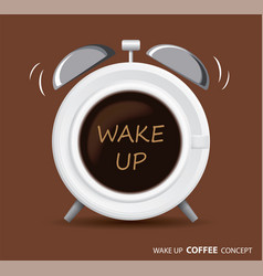 Wake up coffee and alarm clock concept vector
