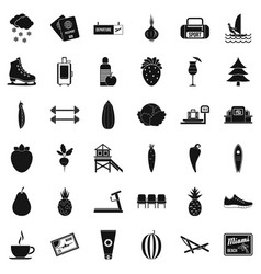 Wellness equipment icons set simple style vector