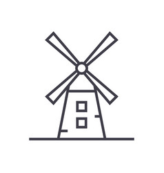windmill line icon sign vector image vector image